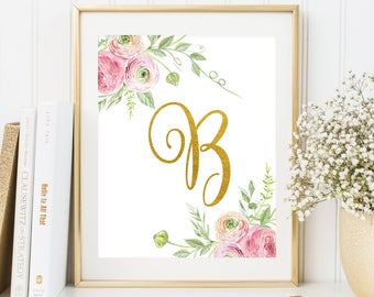Nursery Monogram B Letter Nursery floral decor Gold letter print Initial calligraphy printable Baby Girl Nursery Wall Art Floral monogram