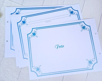 Blue pages for beach wedding guestbook Marine wedding page for book