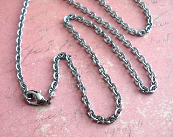 "Stainless Steel 24"" inch Cable Chain Necklace with Lobster clasp .. gunmetal color For MEN 3.5x4mm flat oval links .. Heavy Duty Made in USA"