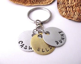 For Mom,Dad Keychain, Father's Day, Grandpa Keychain, Grandma Keychain, Gift for Mom, Grandkids Names, Gift for Aunt, Gift for Dad, 1+ discs