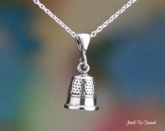 "Sterling Silver Thimble Necklace 16-24"" or Pendant Only .925 Sewing"