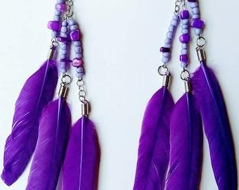 Purple Feather Long earrings, Purple earrings, Glass seed beads earrings, Feather earrings.