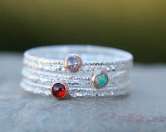 GLITTER GEMSTONE STACKING Ring Set - Birthstone Ring Set - Gemstone ring set - gemstone stacking rings - birthstone stacking rings