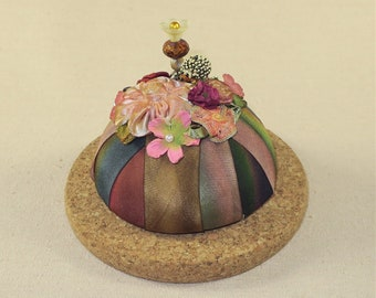 Petite Earthy Colored Pincushion Display with Natural Cork