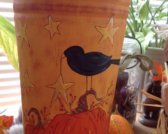 Primitive Harvest hand painted pumpkins & crow French Bucket Vase decor