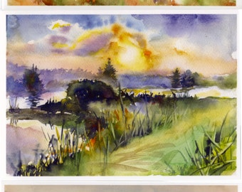 Postcard, Sunset watercolor painting - three sunset themed postcards