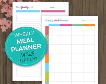 A4 Weekly Meal Planner, Printable Weekly Menu Planner, Grocery List, Shopping List, Menu Plan, A4 Size, 8.27x11.69, pdf, Instant Download