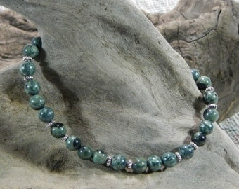 "Green African Kambaba jasper bracelet 8.5"" fossil stromatolite semiprecious stone jewelry night and stars packaged in a gift bag 10017"