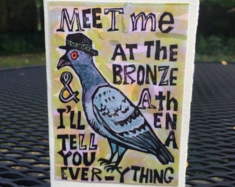 The Pigeon Has a Plan (Woodblock Card)