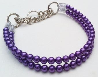 Purple Double Pearl Dog Collar,Cat collar, Buckle Collars, Martingale Collars, Dog Pearls UNBREAKABLE GUARANTEE!