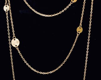 Mini SILVER Disc Necklace Extra Long 52 Inches Courtney Cox Cougar Town Inspired The Look for Less at Links & Locks Designs