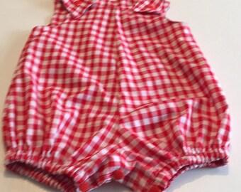 Red gingham romper suit
