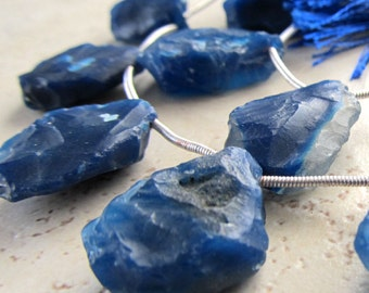 Cobalt Blue Agate Hammer Faceted Teardrops  22 X 18mm - 8 inch Strand