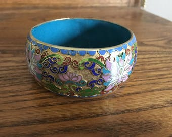 Vintage Asain Blue, Green, Pink and White Enameled Cuff Bracelet 1457