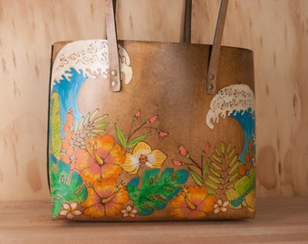 Leather Large Laptop Tote with Tropical Flowers and Waves - Hanalei Pattern in Antique Brown -  Handpainted Third Anniversary Gift For Her