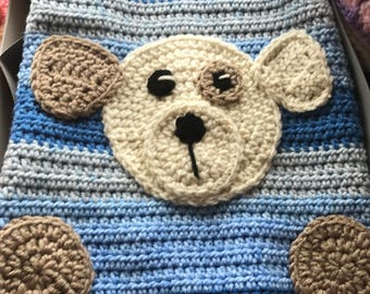 Crochet Baby Bear Blanket, Handmade and Hypoallergenic