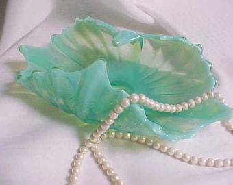 Fostoria héritage panier de forme oblongue Opalescent vert Aqua, années 1960 Vintage Home Decor bol, collection côtes Mid Century plat de verre de couleur