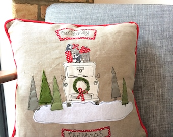 Our family Christmas freehand embroidered cushion