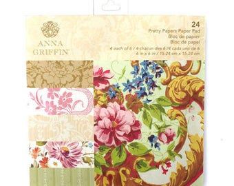 Pretty Paper by Anna Griffin, Pretty Paper Collection, Vintage Style Cardstock,6x6 Paper, Statement Scrapbooking,Vintage Floral Print