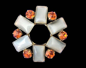 Vintage Smokey Gray Moonstone and Orange Prong Set Rhinestone Circle Scarf Brooch Mid Century Modern Jewelry Gold Tone