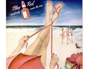 1946 Cutex Nail Polish Beauty Ad Vintage Nail Salon Manicurist Sea Beach Pinup Girl Illustration Tanning Bathroom Powder Room Decor Wall Art