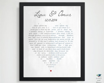Our Wedding Vows / 1st Paper Anniversary / Father's Day / Gift for Her or Him Husband / Custom Unique Wedding Keepsake Gift - Newlyweds