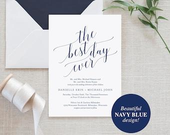 Navy Wedding Invitation, Wedding Invitation Template, Best Day Ever, Navy Wedding Printable, Wedding Invite, Instant Download #BPB320_1