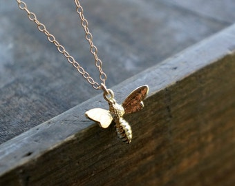 Hornet Necklace // Golden Bee Pendant on a 14k Gold Filled Chain / Dainty Jewelry - Gift for Her - Graduation Present