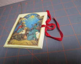 Vintage Mini Book Ornament With Red Ribbon