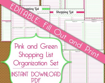 Editable Shopping Lists PDF Instant Download Organization Printable Set in Pink and Green