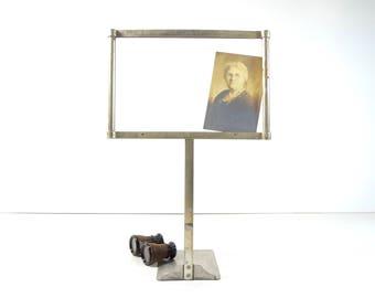 Vintage Store Price Sign Holder / Large 1920s Metal Store Display Frame Stand Holder / Industrial Decor