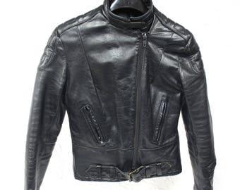 Vintage Motorcycle Bike Ladies Women Leather Jacket, Padded Elbows, Shoulders