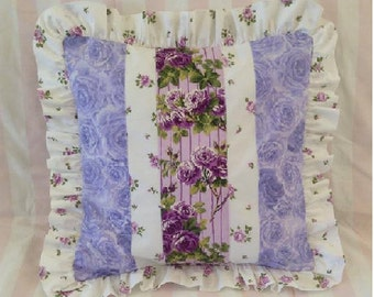 "Purple Lavender Rose Ruffle Pillow Cover - 16"" x 16"""