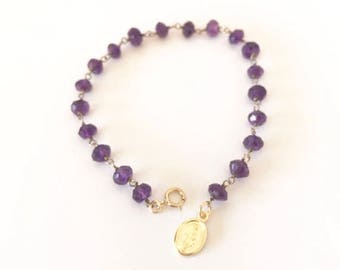 Amethyst bracelet, Gemstone bracelet, Virgin Mary Charm, February Birthstone, Birthday Gift, Purple bracelet