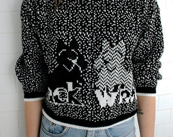 Black and White Terrier Sweater