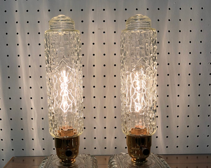 Pair of Art Deco Candlewick Skyscraper Bullet Boudoir Lamps