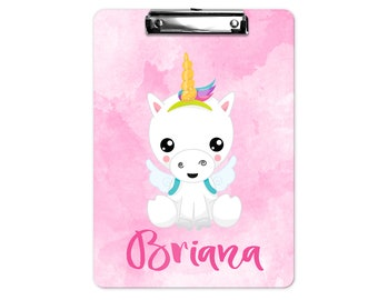 Personalized Unicorn Clipboard in Pink | Back to School Gift | Teacher Gift