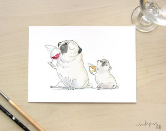 The Sommeliette wine pug art print - pugs and wine art, cute pug painting for kitchen, wine cellar or wine decor by Inkpug