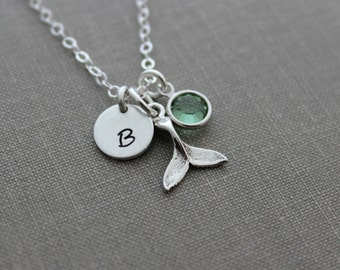 Sterling Silver Tiny Whale tail Necklace with Mini Personalized Initial charm disc and Swarovski crystal birthstone  Beach Jewelry - Custom