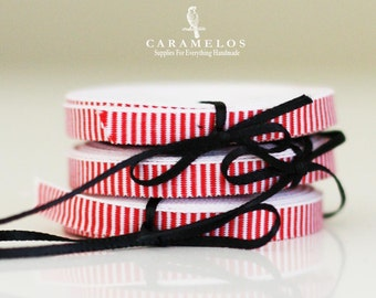 "1/4"" Red and White Peppermint Stripe Ribbon"