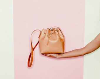 Natural leather Bucket bag. Italian vegetable tanned leather