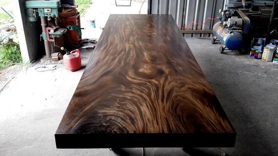 Dining Table Reclaimed Acacia Wood Solid Slab Straight Edge