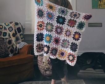 MADE TO ORDER . vintage inspired granny square baby blanket . stroller blanket . multi color .