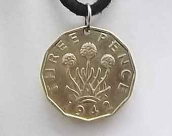 England Coin Necklace, 3 Pence, Coin Pendant, Three Pence, Flower Coin, Leather Cord, Mens Necklace, Womens Necklace, 1942