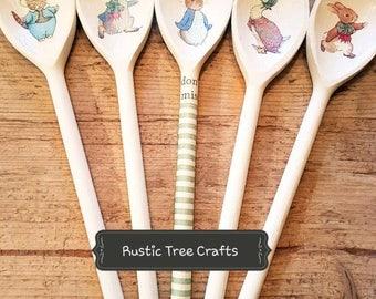 Beatrix Potter Peter Rabbit Jemima Puddleduck Inspired Wooden Spoon Easter New Baby Baby Shower Christening Gift Cake Smash