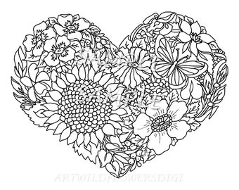 adult teen color sheet heart handmade wildflower flower coloring page instant download slumber - Teen Color Pages