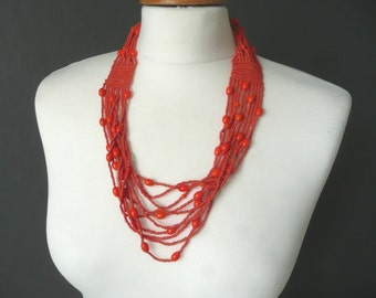 Vintage glass bead necklace - Indian glass bead necklace - ethnic orange glass bead necklace - vintage glass bead multi strand necklace