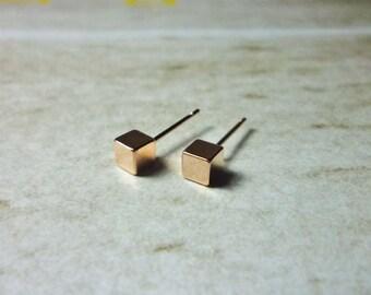 Rose Gold Cube Stud Earrings, Dainty Earrings