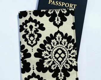 FREE SHIPPING UPGRADE with minimum -  Passport case / passport holder / passport cover : Black damask on ivory