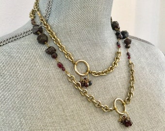 Vintage GARNET LINK NECKLACE Stunning multi shape rough hand cut Genuine Garnet Stones Gold Plate Link Chain tiny Garnet Drop Stations